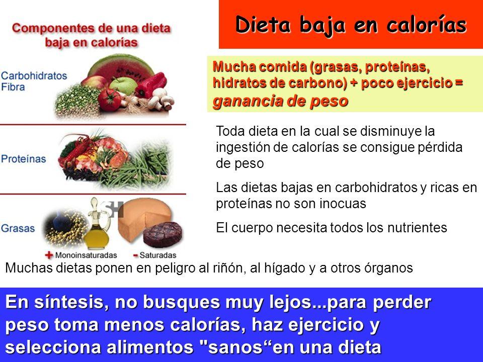 Dieta baja en calorías Mucha comida (grasas, proteínas, hidratos de carbono) + poco ejercicio = ganancia de peso.