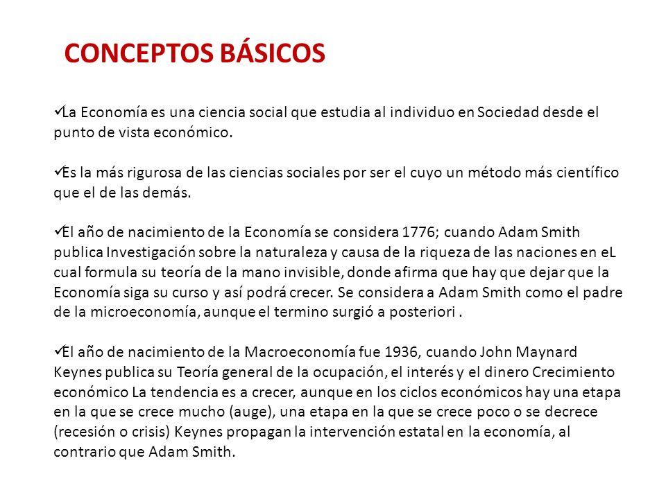 CONCEPTOS BÁSICOS La Economía es una ciencia social que estudia al individuo en Sociedad desde el punto de vista económico.
