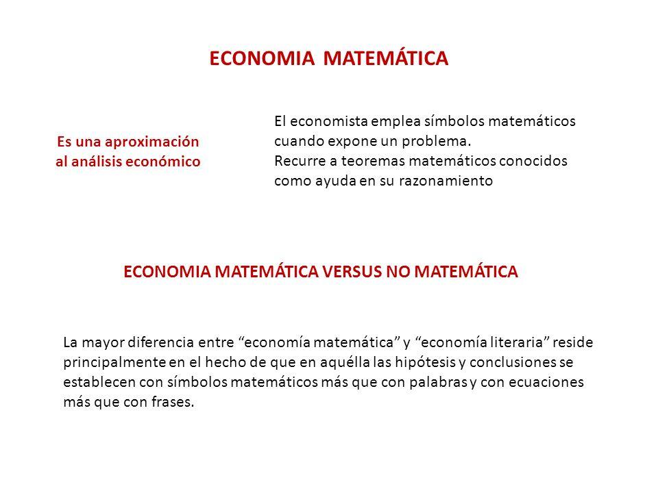ECONOMIA MATEMÁTICA VERSUS NO MATEMÁTICA
