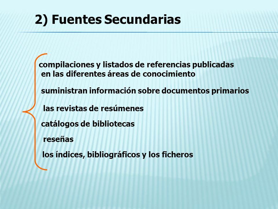 2) Fuentes Secundarias compilaciones y listados de referencias publicadas. en las diferentes áreas de conocimiento.