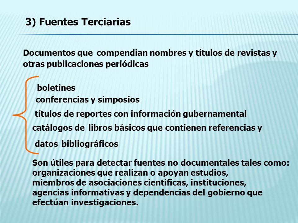 3) Fuentes Terciarias Documentos que compendian nombres y títulos de revistas y otras publicaciones periódicas.