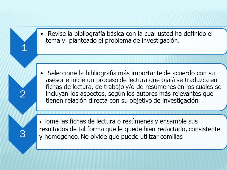 1 Revise la bibliografía básica con la cual usted ha definido el tema y planteado el problema de investigación.
