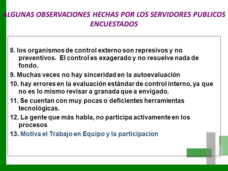 ALGUNAS OBSERVACIONES HECHAS POR LOS SERVIDORES PUBLICOS ENCUESTADOS