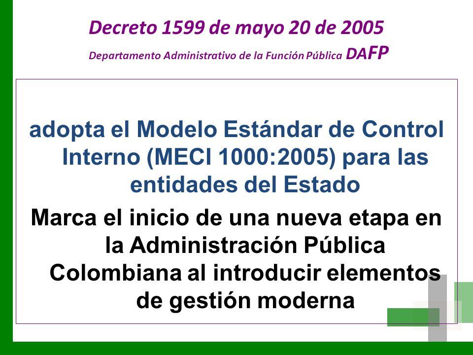Decreto 1599 de mayo 20 de 2005 Departamento Administrativo de la Función Pública DAFP