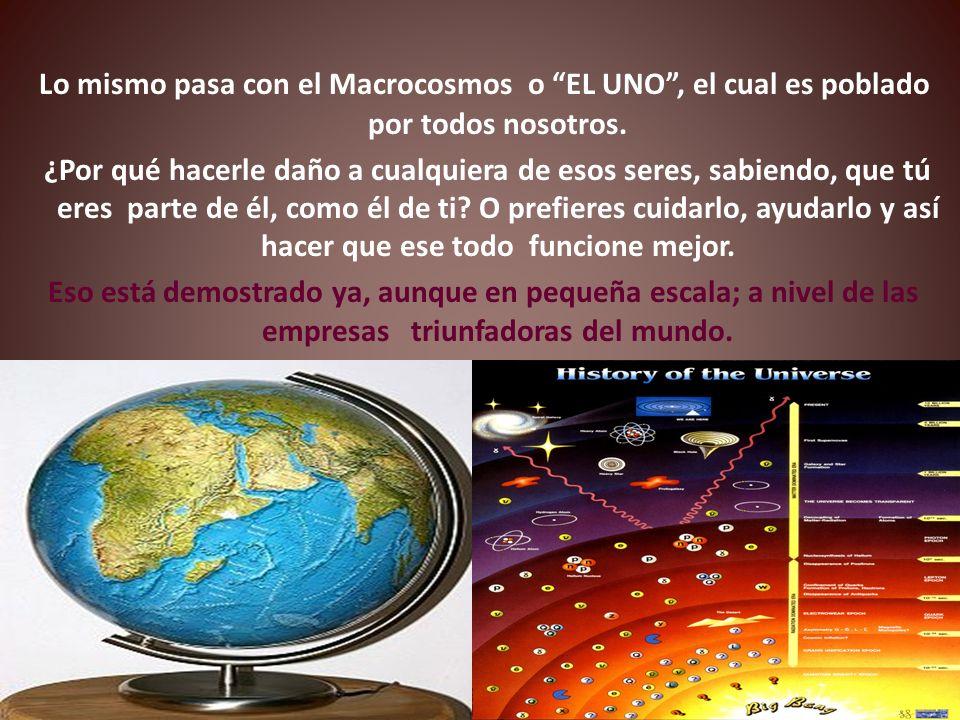 Lo mismo pasa con el Macrocosmos o EL UNO , el cual es poblado por todos nosotros.