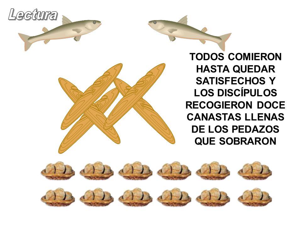 Lectura TODOS COMIERON HASTA QUEDAR SATISFECHOS Y LOS DISCÍPULOS RECOGIERON DOCE CANASTAS LLENAS DE LOS PEDAZOS QUE SOBRARON.
