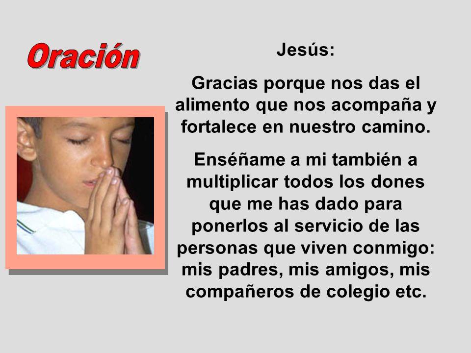 Jesús: Gracias porque nos das el alimento que nos acompaña y fortalece en nuestro camino.