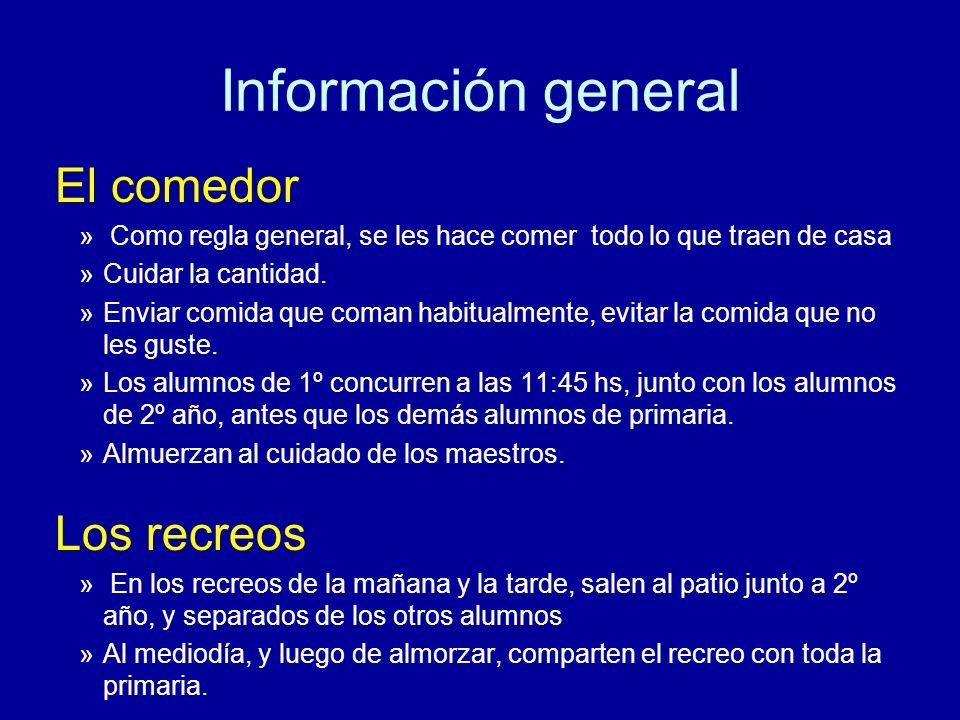 Información general El comedor Los recreos