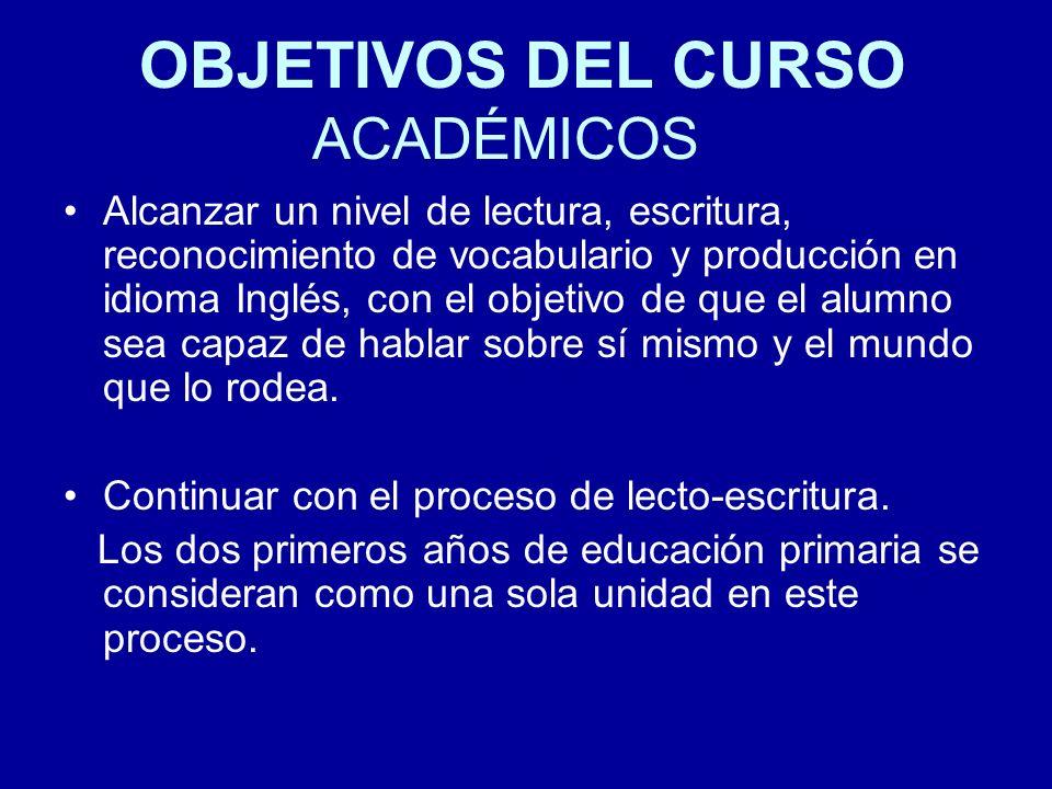 OBJETIVOS DEL CURSO ACADÉMICOS