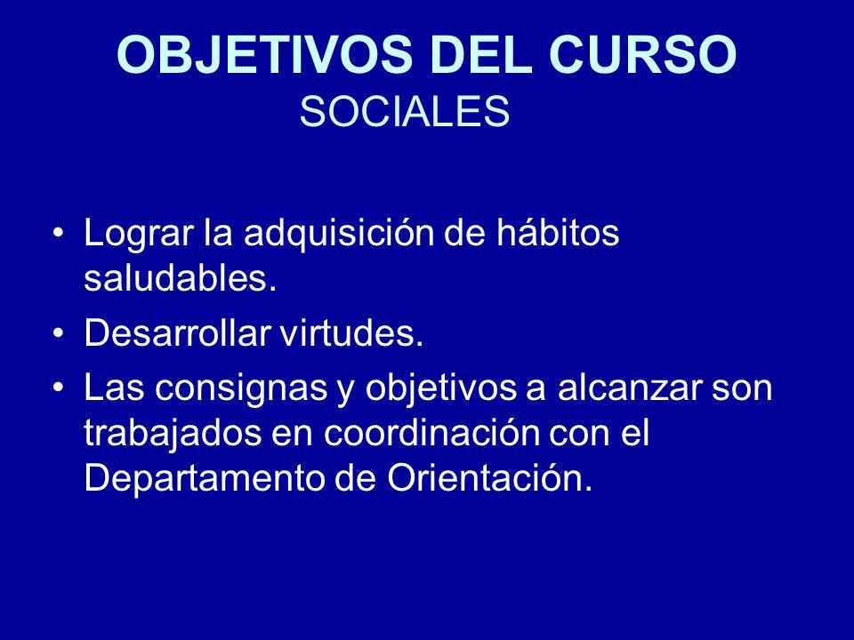 OBJETIVOS DEL CURSO SOCIALES