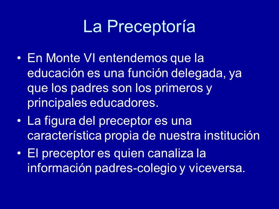 La Preceptoría En Monte VI entendemos que la educación es una función delegada, ya que los padres son los primeros y principales educadores.