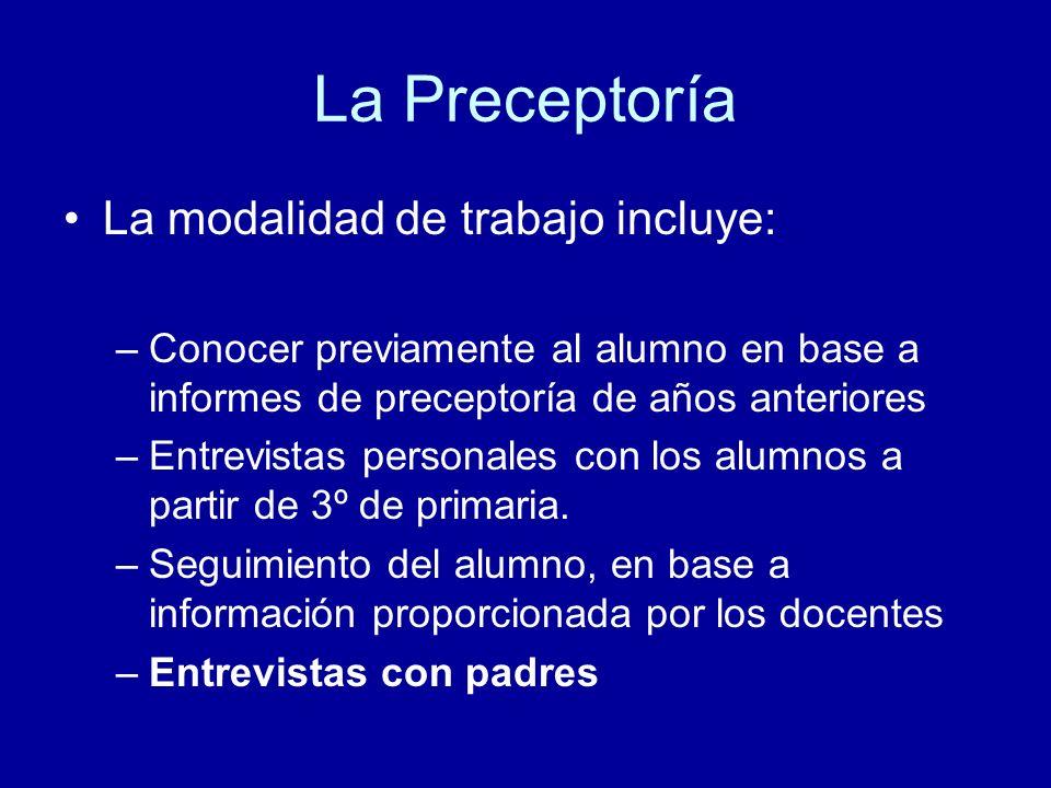 La Preceptoría La modalidad de trabajo incluye: