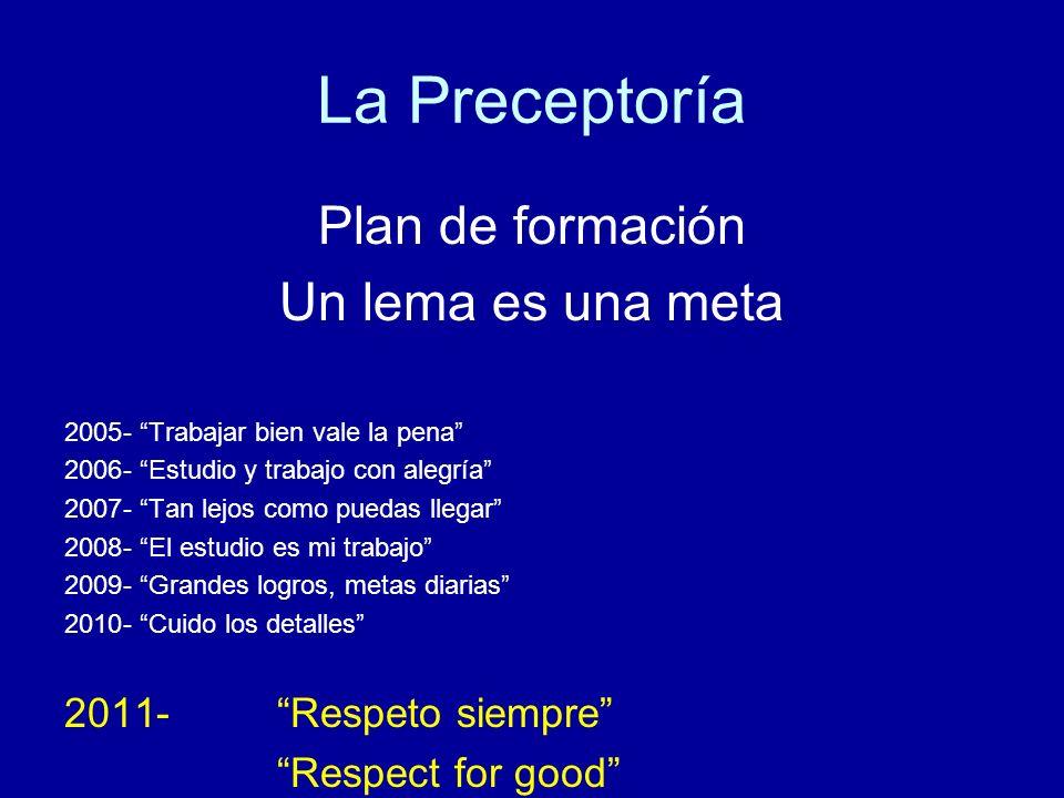 La Preceptoría Plan de formación Un lema es una meta