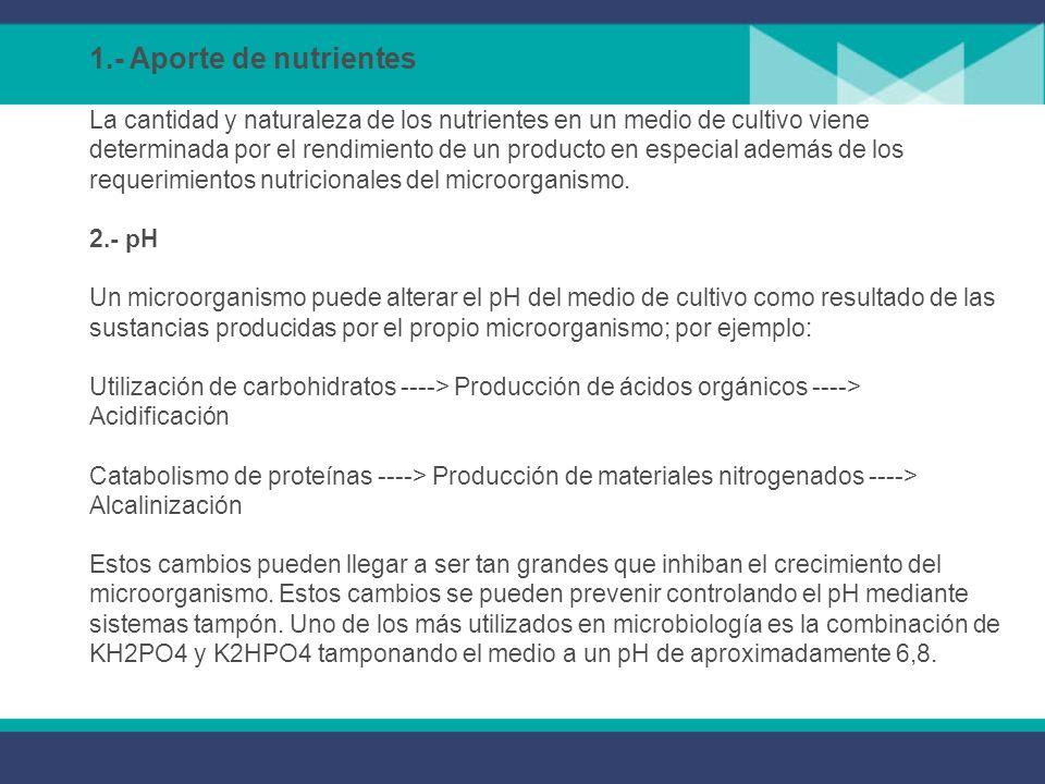 1.- Aporte de nutrientes La cantidad y naturaleza de los nutrientes en un medio de cultivo viene determinada por el rendimiento de un producto en especial además de los requerimientos nutricionales del microorganismo.