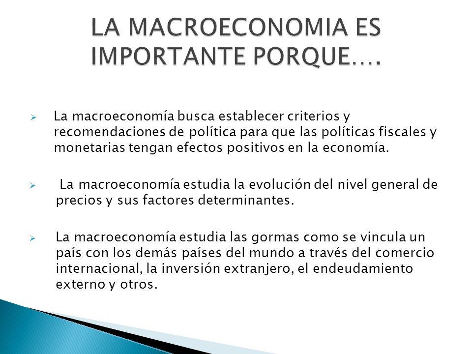 LA MACROECONOMIA ES IMPORTANTE PORQUE….