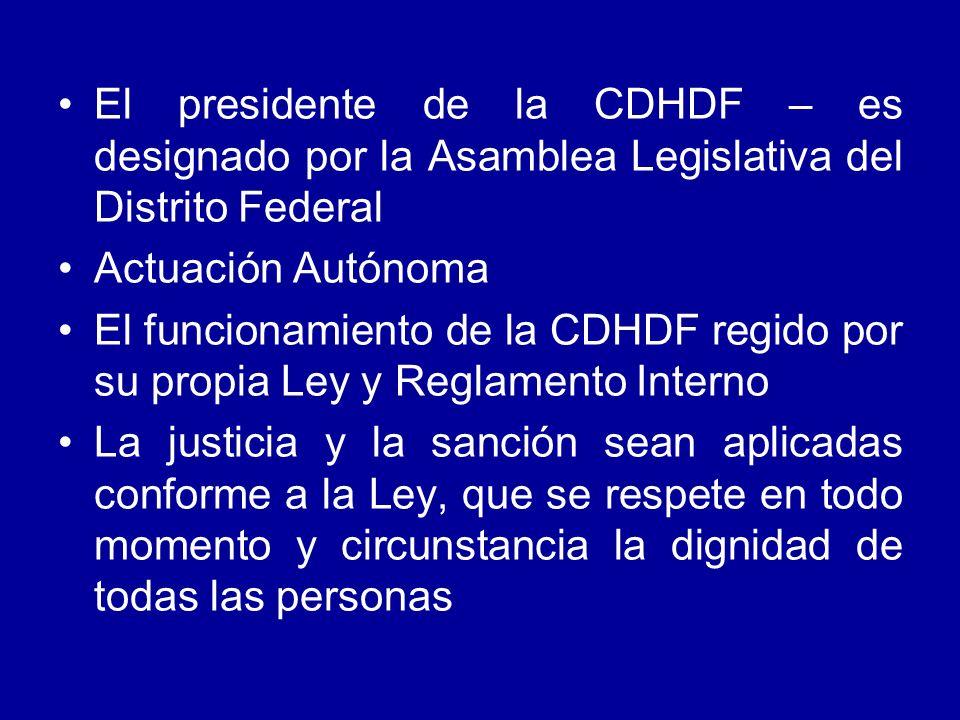 El presidente de la CDHDF – es designado por la Asamblea Legislativa del Distrito Federal