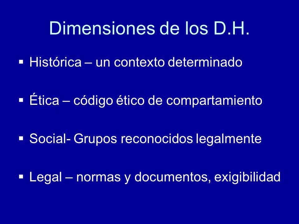 Dimensiones de los D.H. Histórica – un contexto determinado