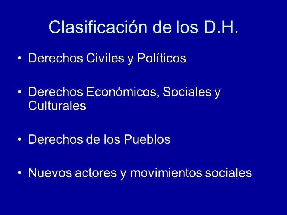 Clasificación de los D.H.