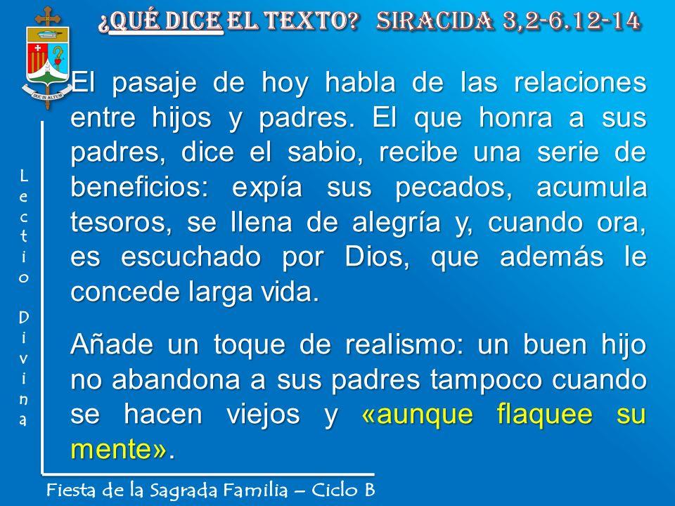 ¿Qué dice el texto Siracida 3,2-6.12-14