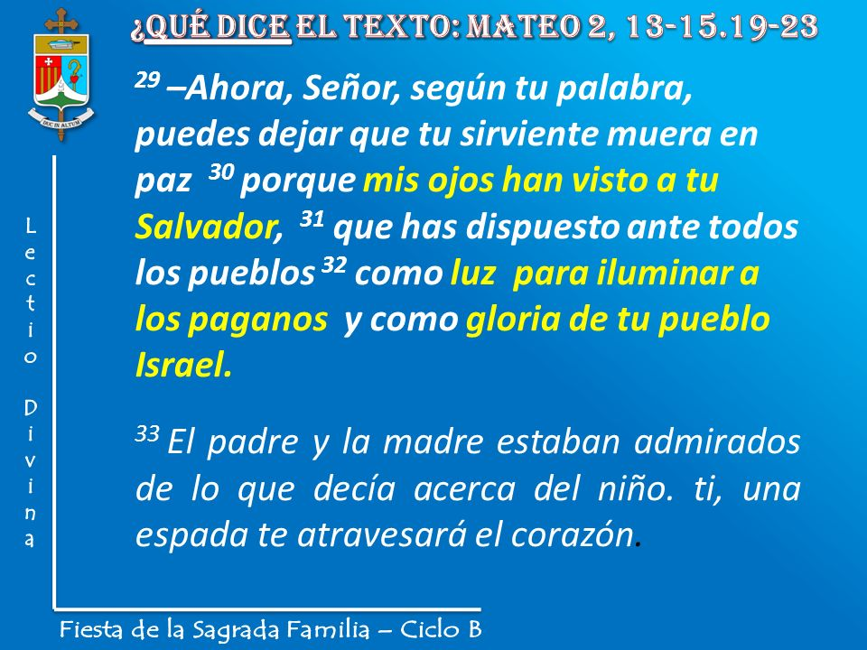 ¿Qué dice el texto: Mateo 2, 13-15.19-23