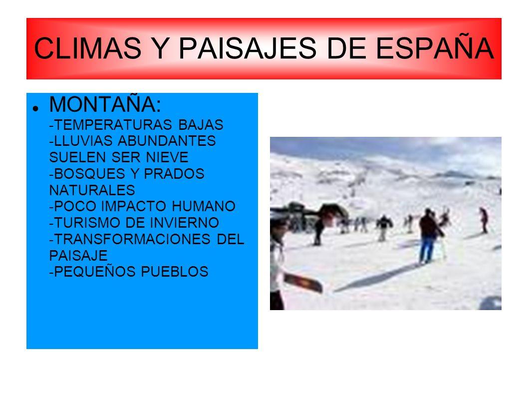 CLIMAS Y PAISAJES DE ESPAÑA
