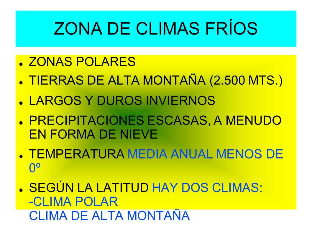 ZONA DE CLIMAS FRÍOS ZONAS POLARES