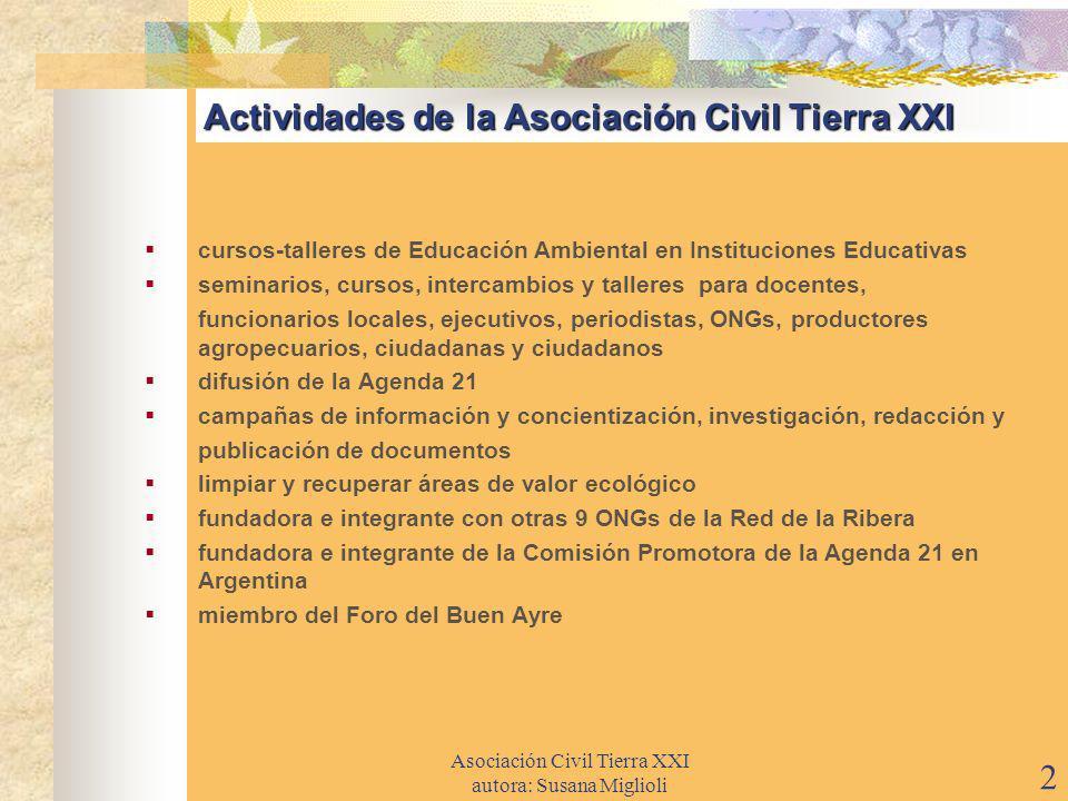 Actividades de la Asociación Civil Tierra XXI