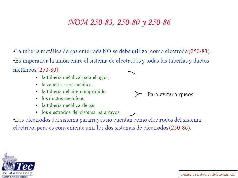 NOM 250-83, 250-80 y 250-86 La tubería metálica de gas enterrada NO se debe utilizar como electrodo (250-83).