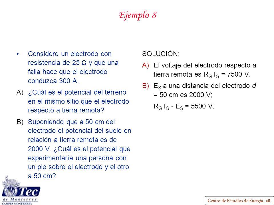 Ejemplo 8 Considere un electrodo con resistencia de 25 W y que una falla hace que el electrodo conduzca 300 A.