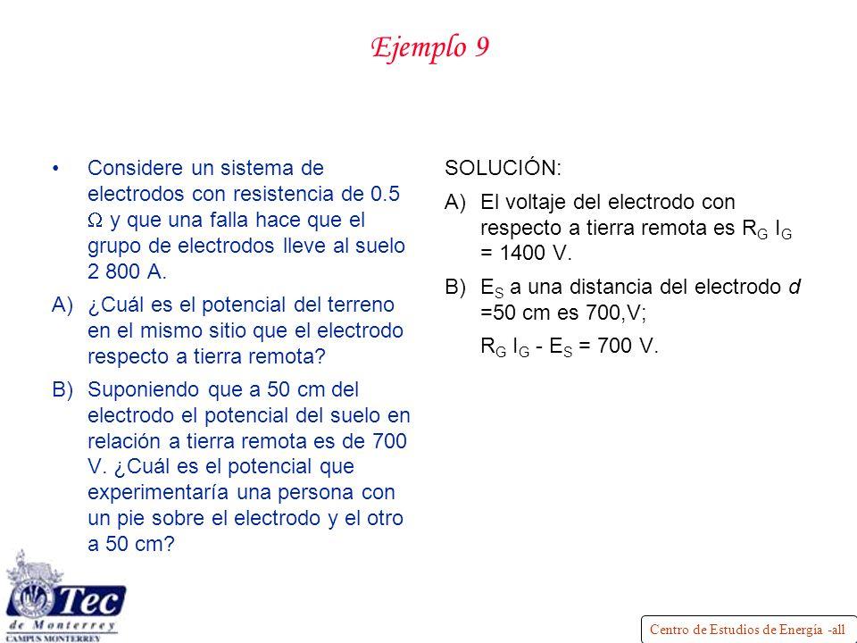 Ejemplo 9 Considere un sistema de electrodos con resistencia de 0.5 W y que una falla hace que el grupo de electrodos lleve al suelo 2 800 A.