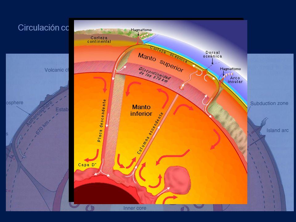 Circulación convectiva de la astenosfera y el manto