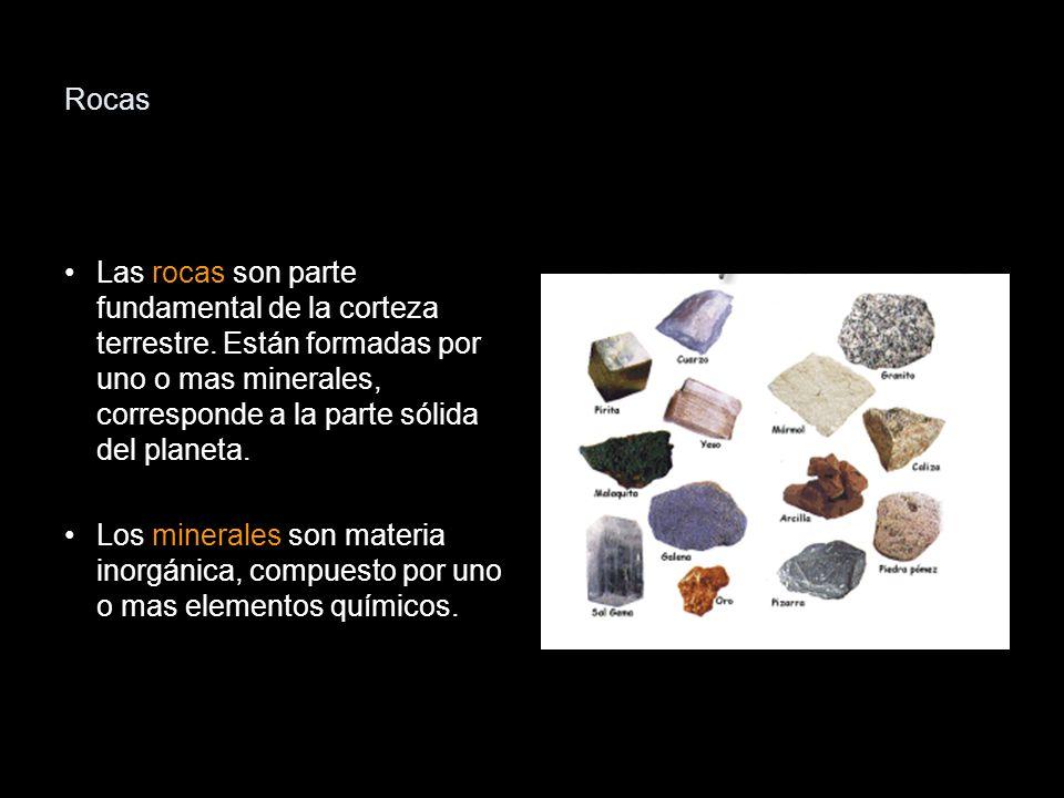 Rocas Las rocas son parte fundamental de la corteza terrestre. Están formadas por uno o mas minerales, corresponde a la parte sólida del planeta.
