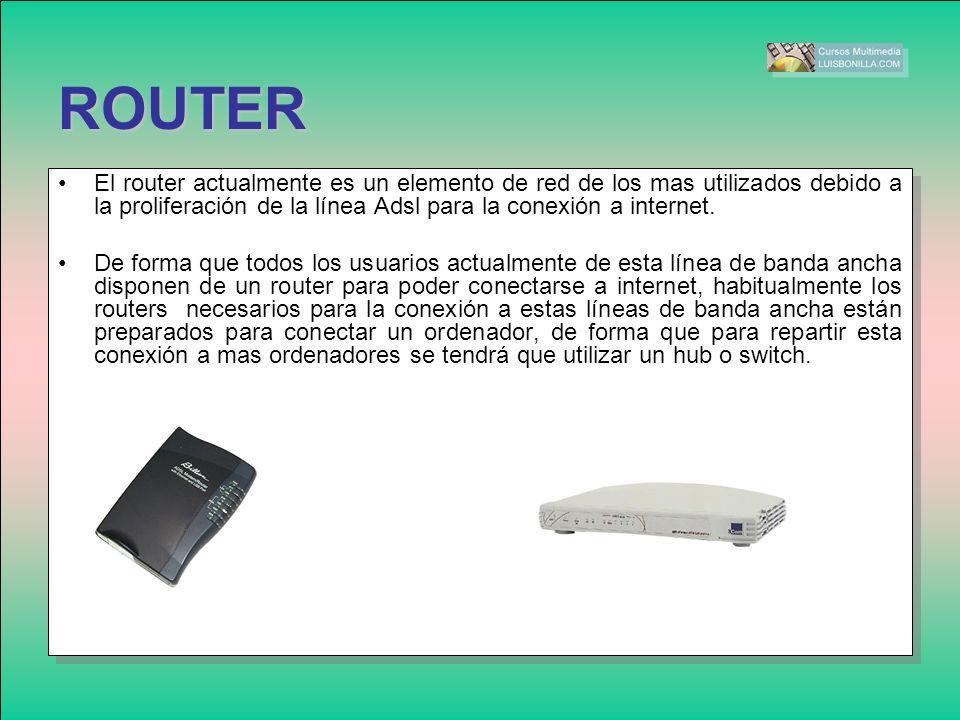 ROUTER El router actualmente es un elemento de red de los mas utilizados debido a la proliferación de la línea Adsl para la conexión a internet.