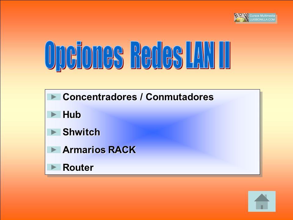 Opciones Redes LAN II Concentradores / Conmutadores Hub Shwitch