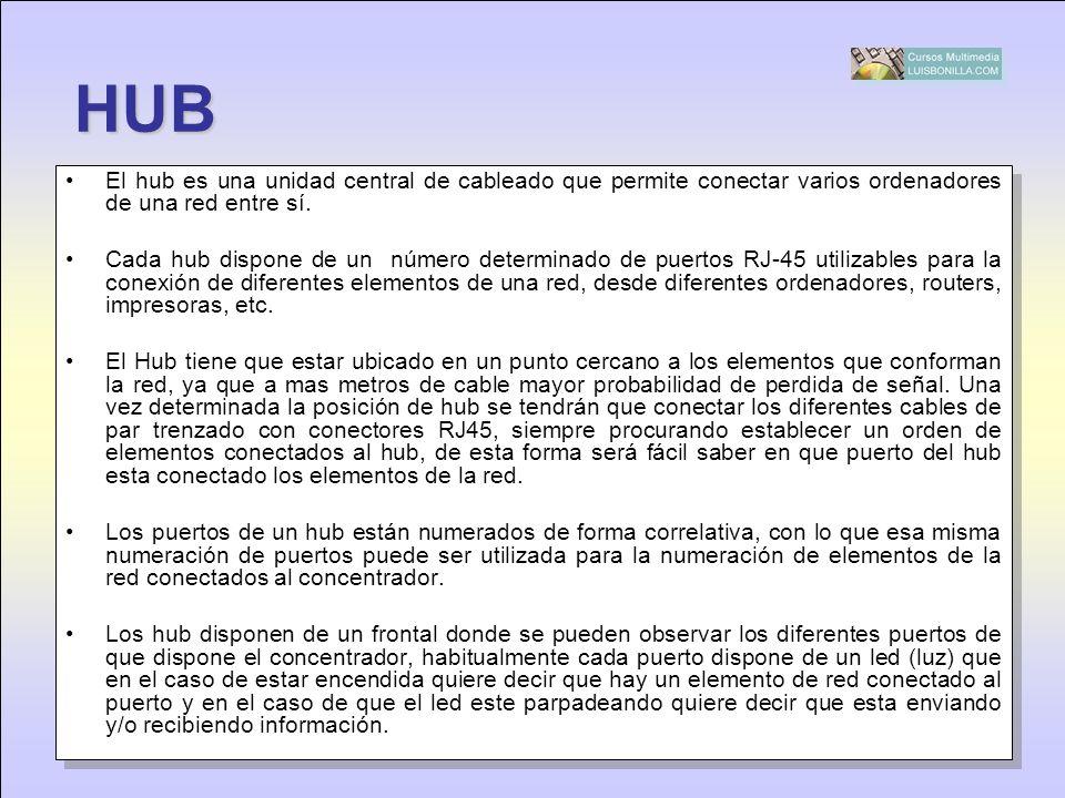HUB El hub es una unidad central de cableado que permite conectar varios ordenadores de una red entre sí.