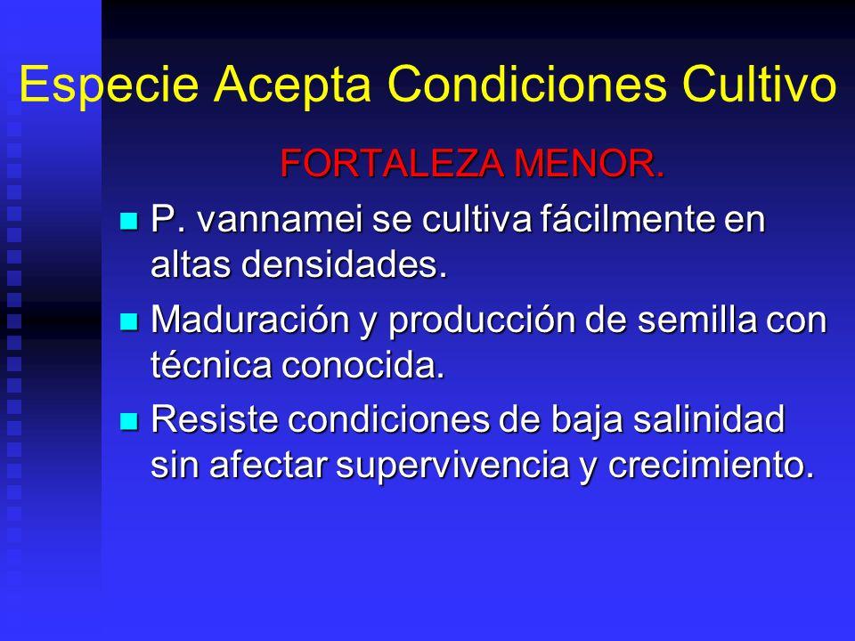 Especie Acepta Condiciones Cultivo