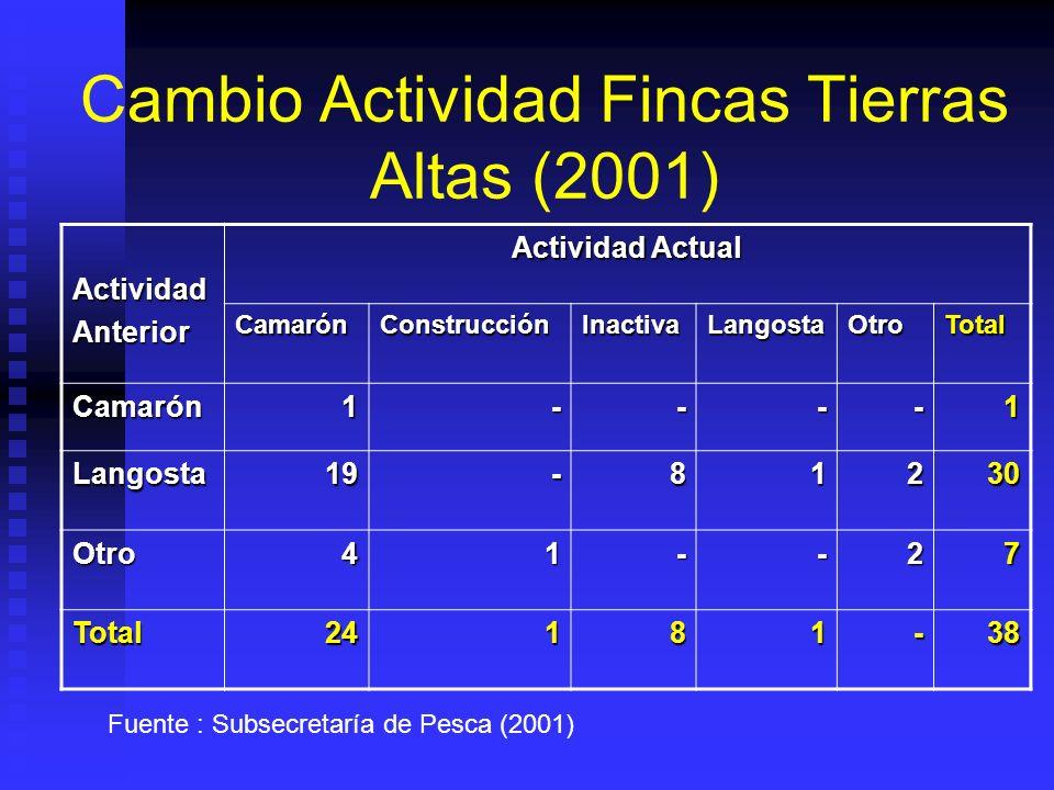 Cambio Actividad Fincas Tierras Altas (2001)