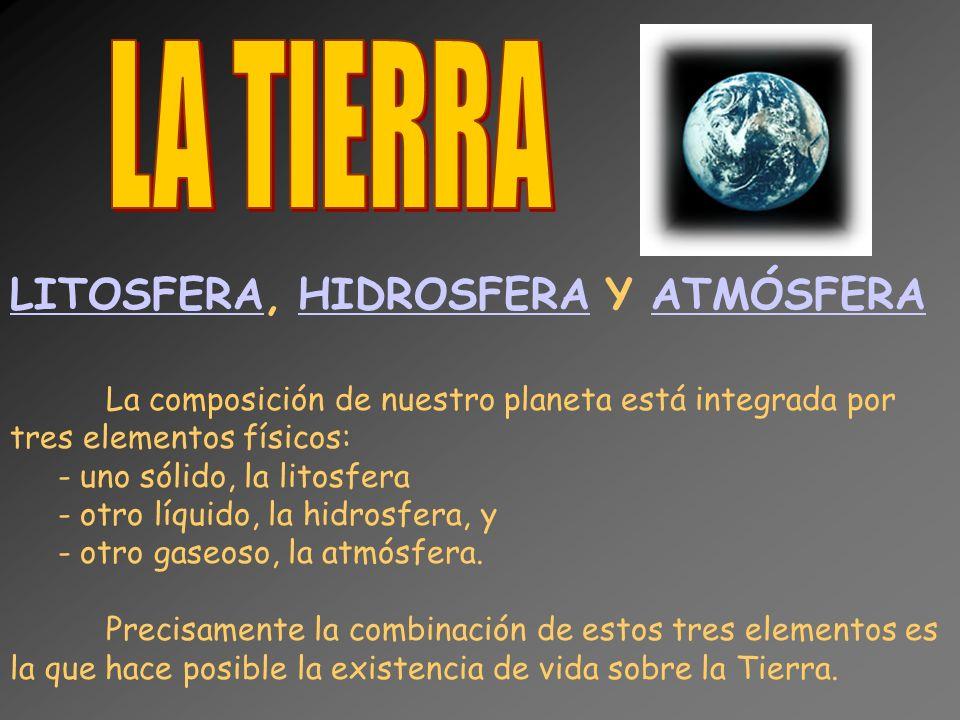 LA TIERRA LITOSFERA, HIDROSFERA Y ATMÓSFERA uno sólido, la litosfera