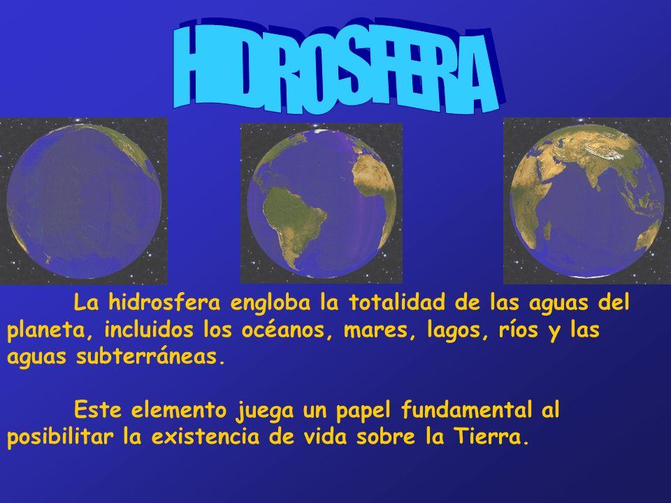 HIDROSFERA La hidrosfera engloba la totalidad de las aguas del planeta, incluidos los océanos, mares, lagos, ríos y las aguas subterráneas.