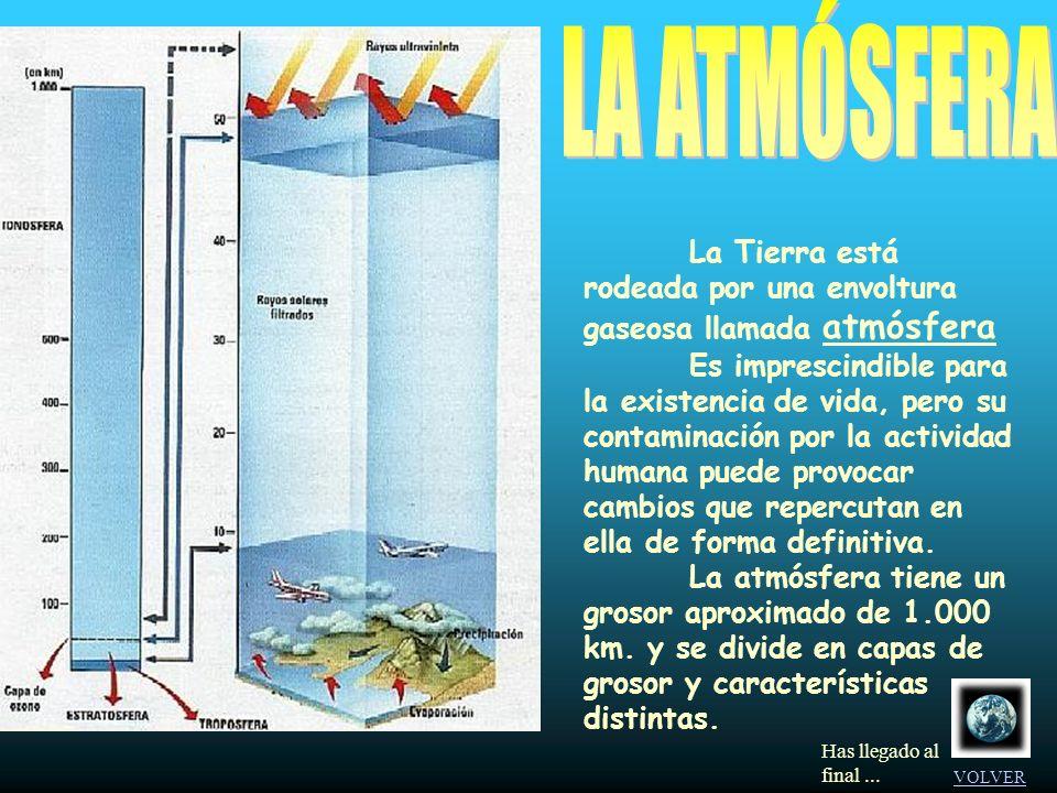 LA ATMÓSFERA La Tierra está rodeada por una envoltura gaseosa llamada atmósfera.