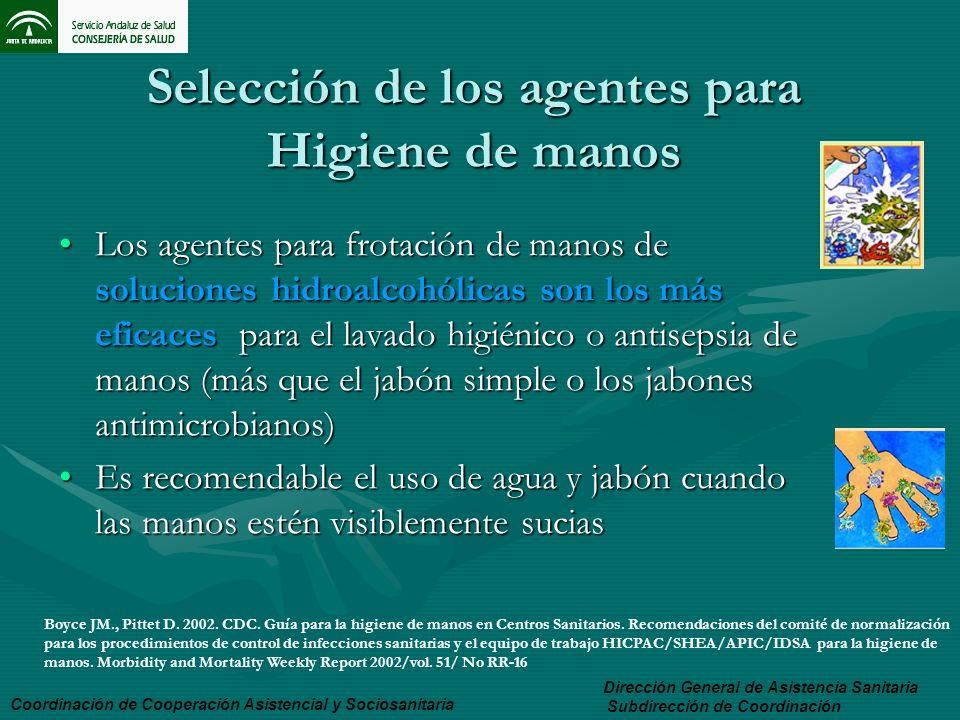 Selección de los agentes para Higiene de manos