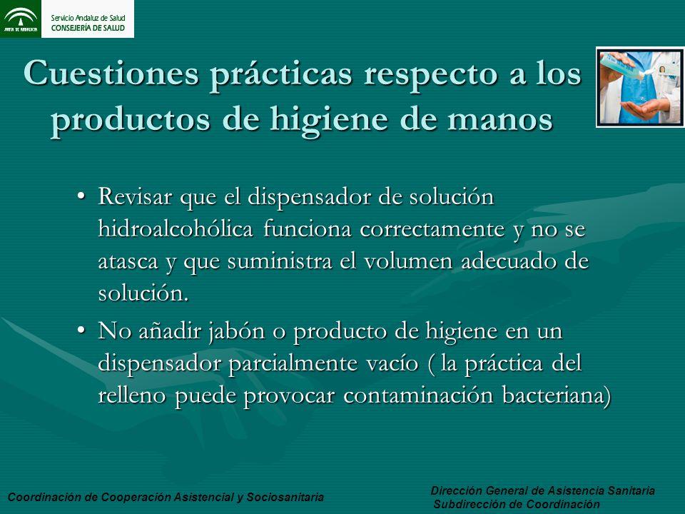 Cuestiones prácticas respecto a los productos de higiene de manos