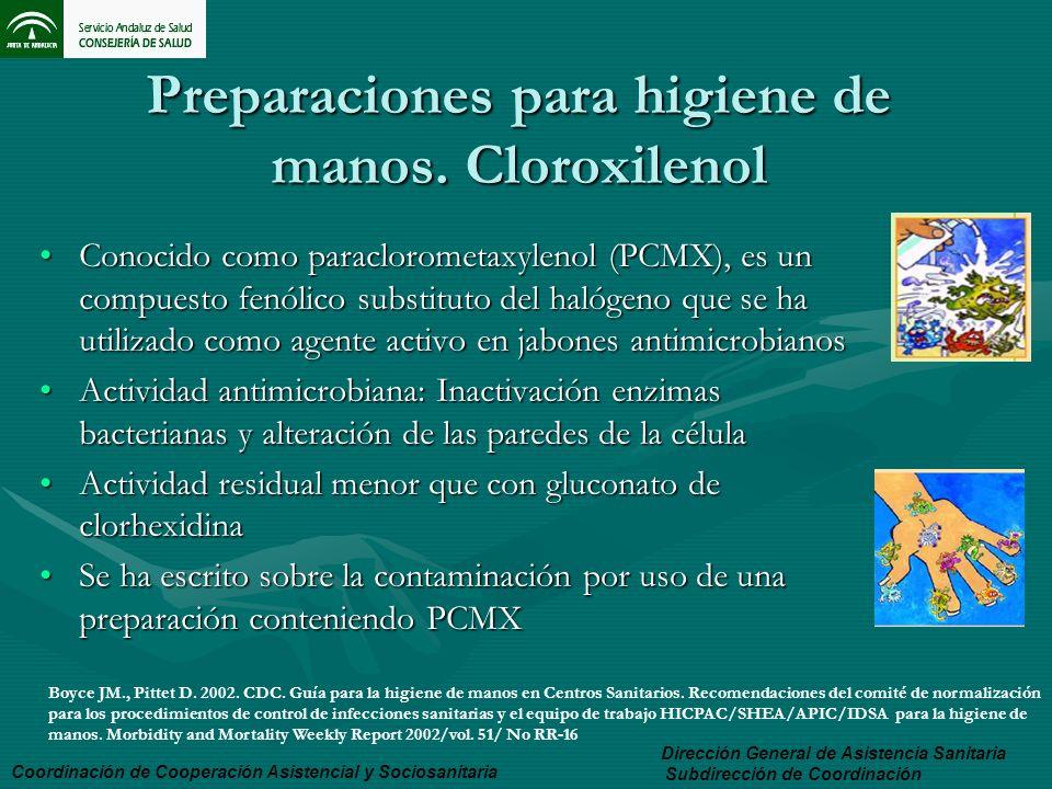 Preparaciones para higiene de manos. Cloroxilenol