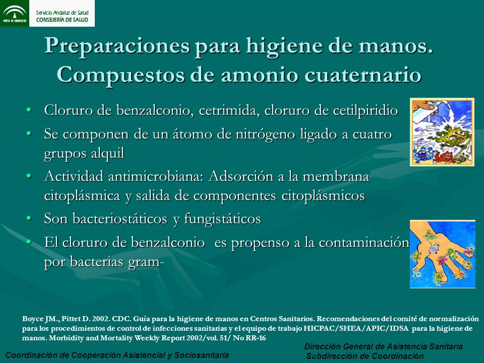 Preparaciones para higiene de manos. Compuestos de amonio cuaternario