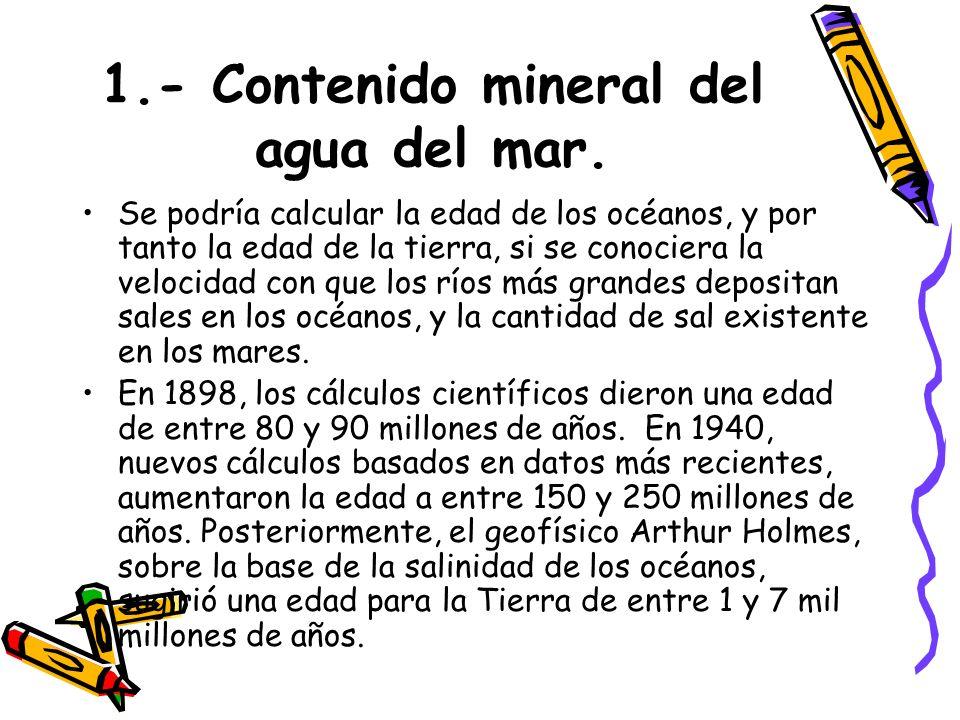1.- Contenido mineral del agua del mar.