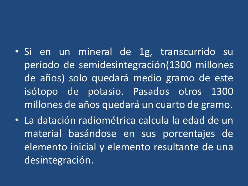 Si en un mineral de 1g, transcurrido su periodo de semidesintegración(1300 millones de años) solo quedará medio gramo de este isótopo de potasio. Pasados otros 1300 millones de años quedará un cuarto de gramo.