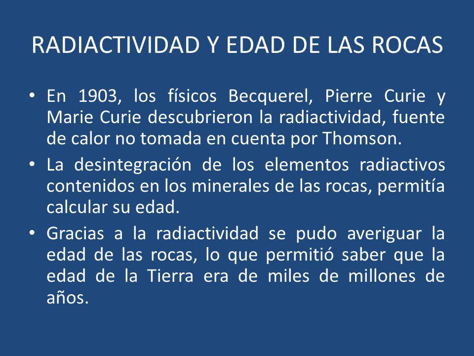 RADIACTIVIDAD Y EDAD DE LAS ROCAS