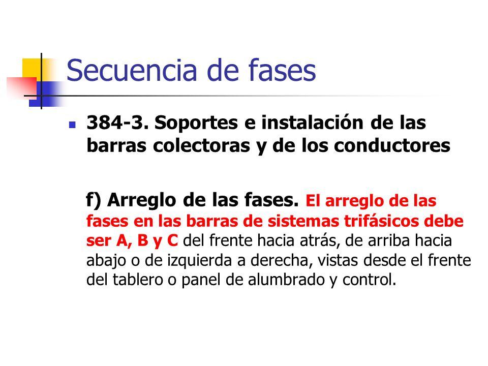 Secuencia de fases 384-3. Soportes e instalación de las barras colectoras y de los conductores.
