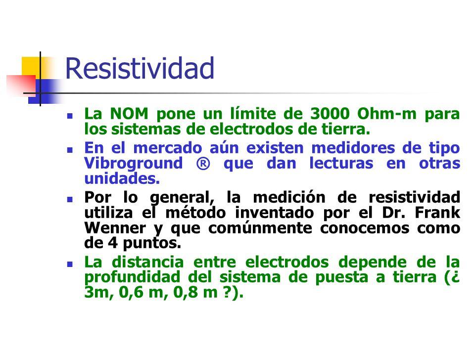 Resistividad La NOM pone un límite de 3000 Ohm-m para los sistemas de electrodos de tierra.