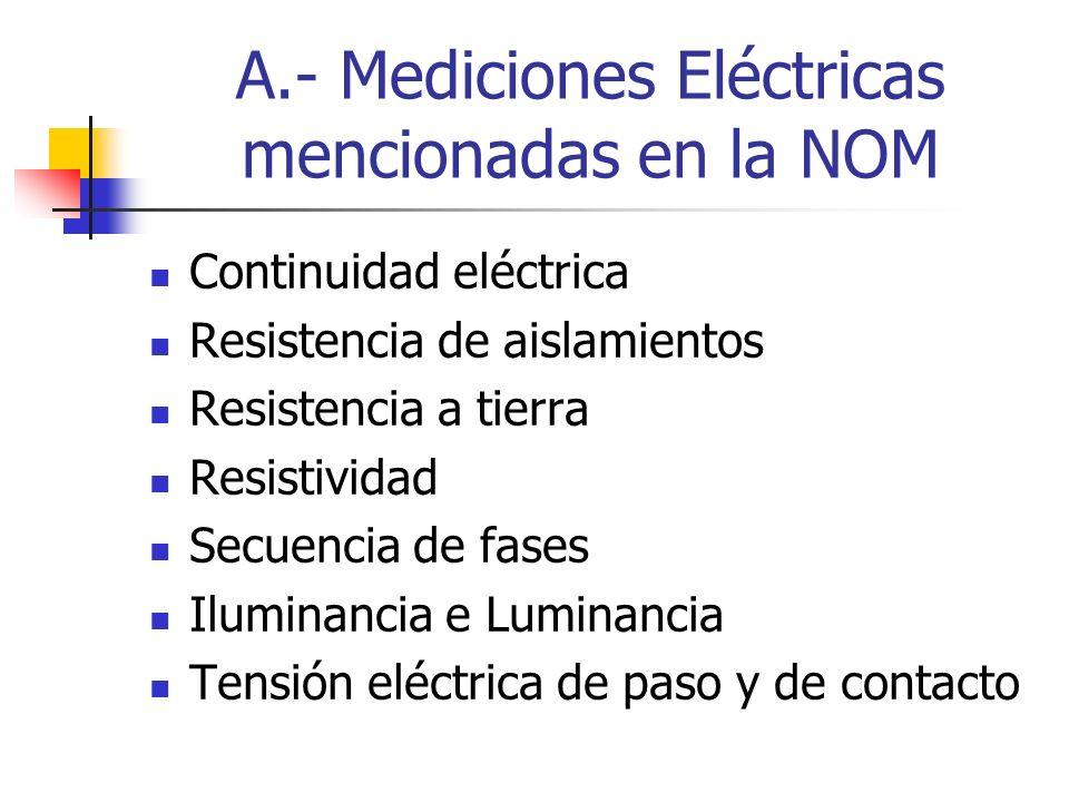 A.- Mediciones Eléctricas mencionadas en la NOM